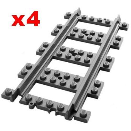 LEGO Train Track Straight 4 Nouvelles pièces de rail pour 60197 60198 75955 10254 60052 | Simple D'utilisation