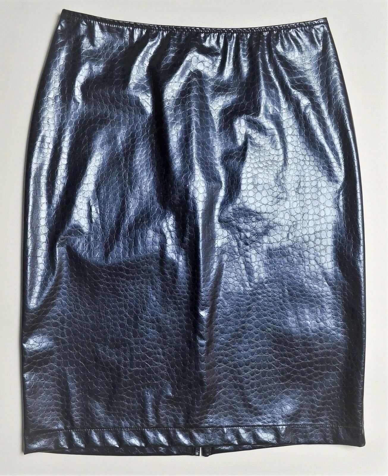 TRUSSARDI JEANS Faux Patent Leather Crocodile Patterned Pencil Skirt S M 42 bluee