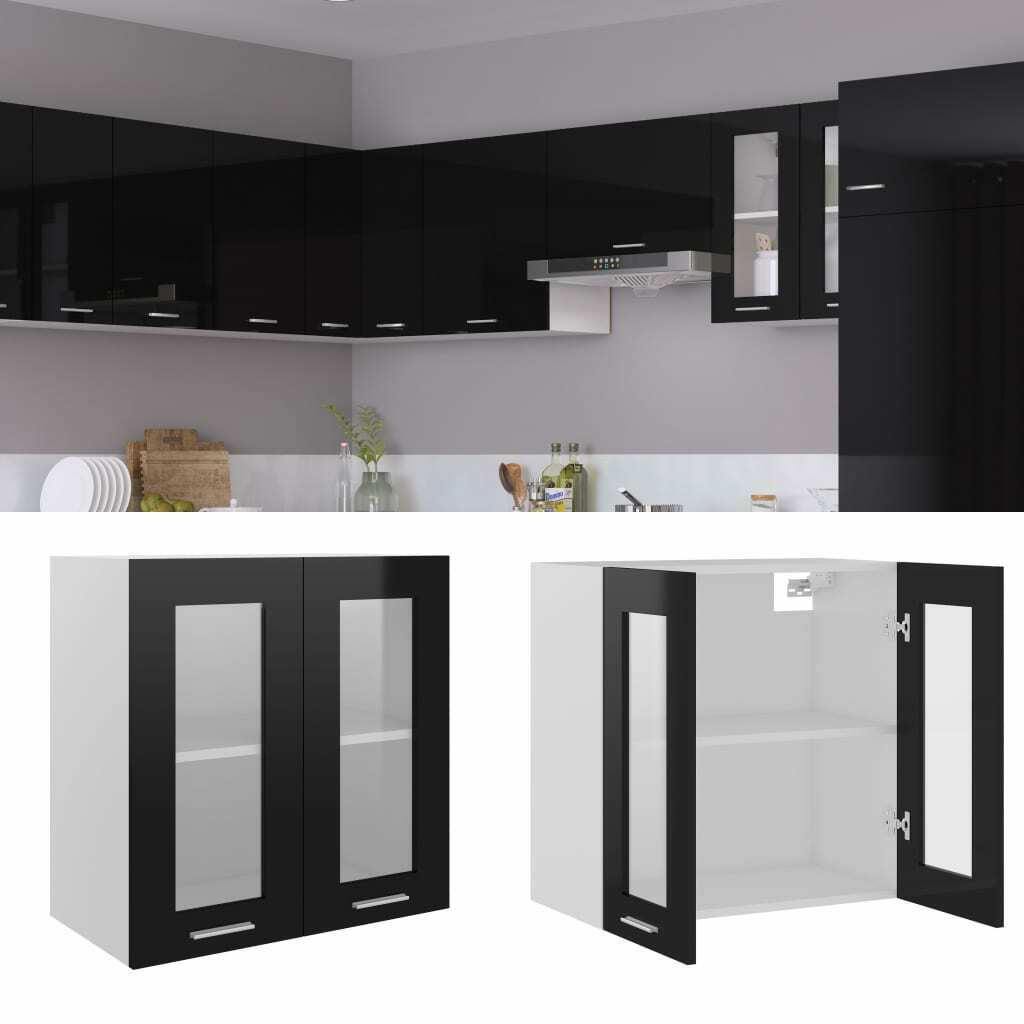 vidaXL Mueble de Cocina Aglomerado Negro Brillante 60x31x60 cm Mobiliario Mesa