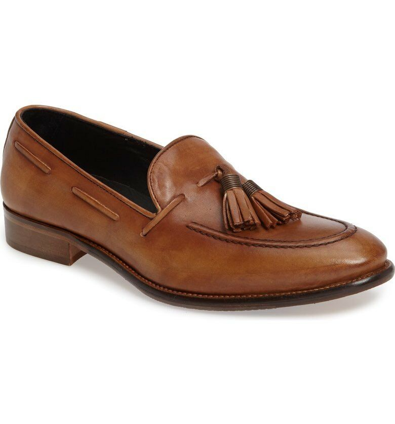 NIB Kenneth Cole New York Men's Thrill-iant Slip On Leather Tassel shoes in Sand