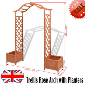 Details About Solid Wood Climber Garden Trellis Arch Archway Pergola With Planters Entryway Uk
