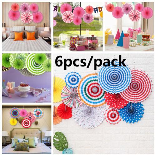 6 Pcs Sweet Hanging Paper Fan Pinwheel Garland Wedding Birthday Party Decoration