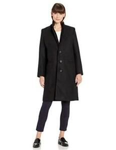 Essentials Women's Plush Button-Front Coat, Black S, Black, Size Small rk