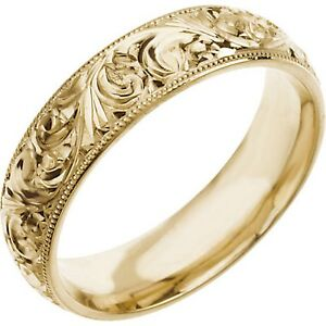 image is loading wedding band 6mm hand engraved ring 14k white