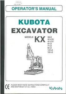 kubota excavator kx36 2 kx41 2s kx41 2v kx61 2 kx71 2 operators rh ebay co uk Kubota K008 Kubota K008