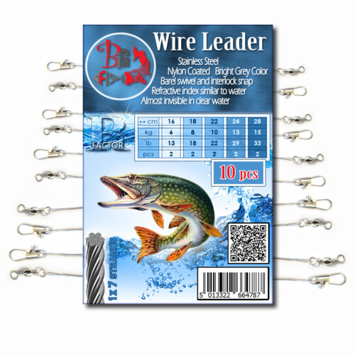 WIRE TRACE LEADER Coated R FACTOR Pike Sea Coarse Fishing Lure Spinner