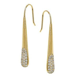 Yellow-Gold-Flashed-Sterling-Silver-CZ-Elongated-Teardrop-Hook-Drop-Earrings