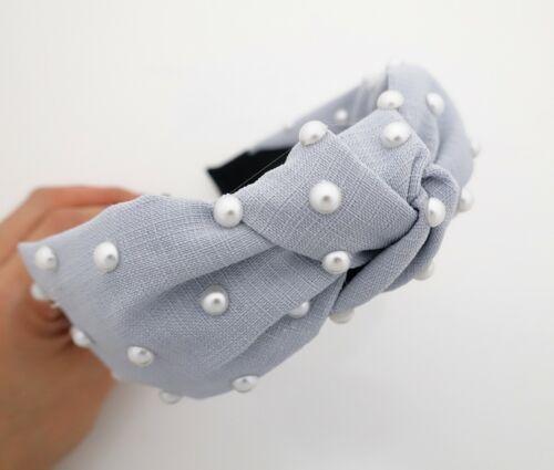 thin fabric front knot pearl decorated fashion headband Spring stylish hairband