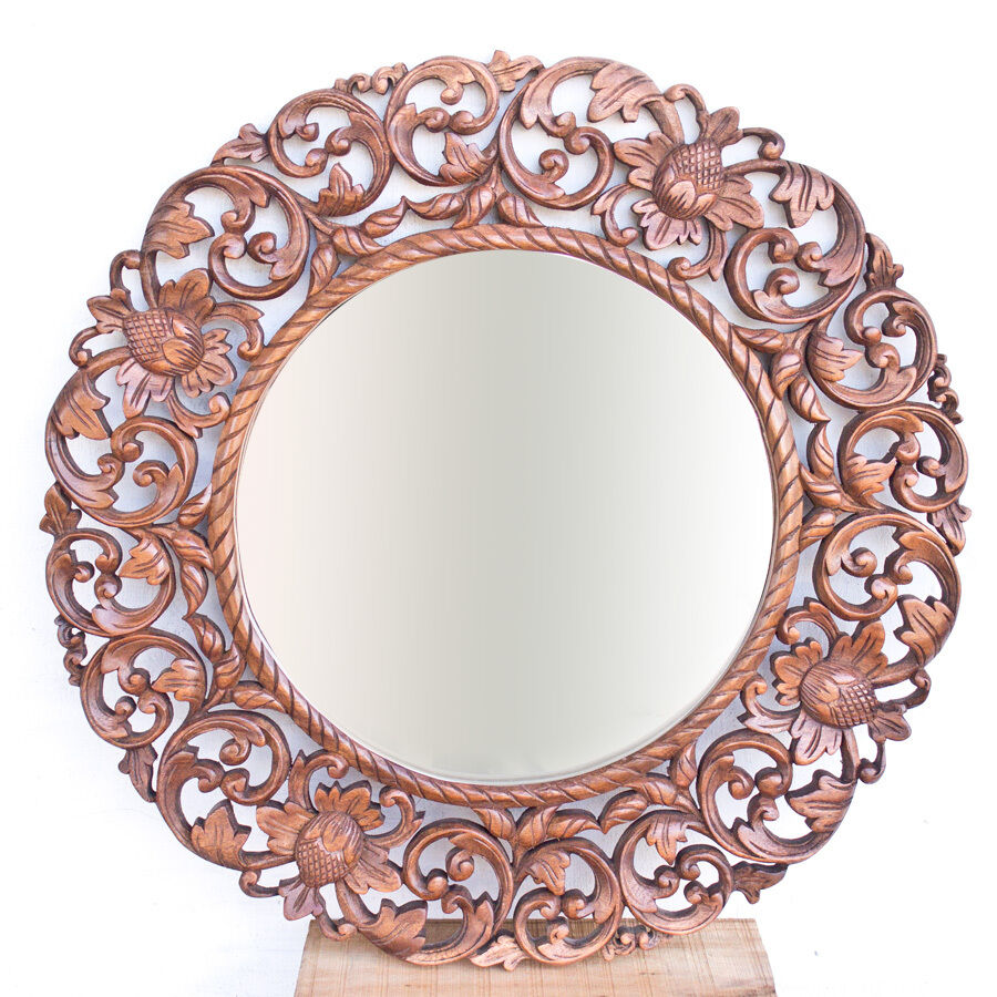 Wood Circle Wall Decor : Quot cm round lotus floral carved suar wood wall mirror