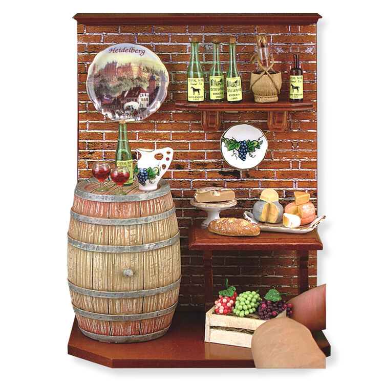 Reutter Porzellan cantina wine cellar DIORAMA MURO immagine bambole Tube 1:12