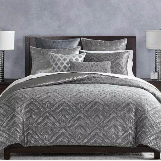 hudson park collection comforter cover woven diamond duvet cover queen gray 400