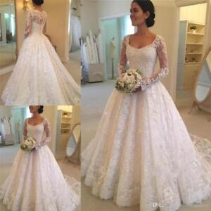 Details About Vintage Wedding Dresses Lace Long Sleeves Bridal Plus Size 8 10 12 14 16 18 20