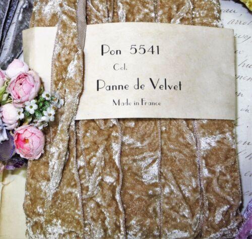 """1y VTG 7//8/"""" FRENCH BEIGE TAN VELVET RIBBON TRIM BOHO CRUSHED PANNE VTG ANTIQUE"""