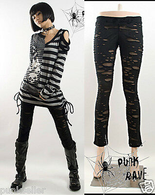 Punk Rave Girl's Sexy Leggings Stretchy Black Slim fit ripped Steampunk pants