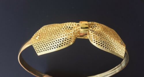 Vintage Hair Accessory Gold Color Metal Headband Mesh Bow