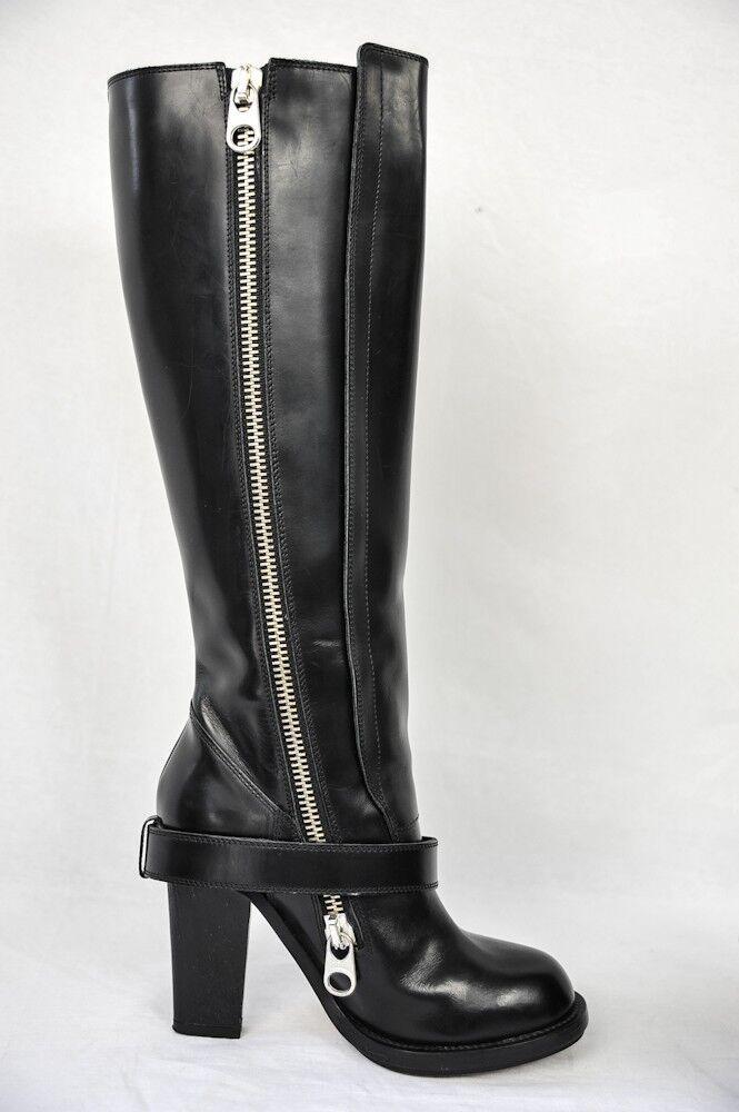 Chloe Damen Schwarz Kniehoch Klobiger Absatz Reißverschluss Reißverschluss Reißverschluss Schnalle Leder 8d323c