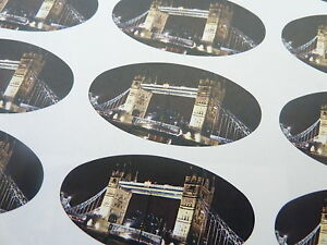 Tower-Bridge-London-SCEAU-OVALE-etiquettes-autocollants-pour-emballage-cadeau