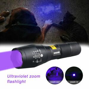395nm LED UV Blacklight Tactical Flashlight Zoom Torch Pet Urine Detector Light