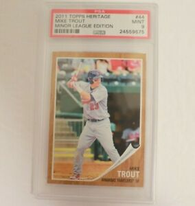 2011 Topps Heritage Minor League Edition Mike Trout Rookie RC #44 PSA 9 MINT