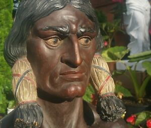 NYC-CIGAR-STORE-INDIAN-statue-vtg-tobacco-antique-american-folk-art-sign-sioux
