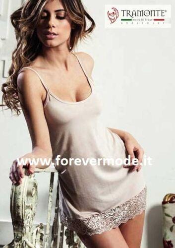 Mini abito donna Tramonte spalla stretta in micromodal con balza pizzo art 758