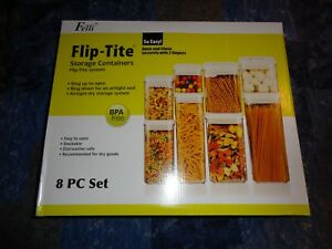 Felli Flip-Tite System 8 Pc Vacuum Airtight Food Storage Stackable Container Set Dom i Meble