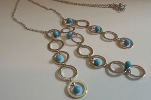 NEW DESIGN!! 925 STERLING SILVER MULTI-STRAND TURQUOISE BEAD NECKLACE PENDANT