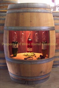 Image Is Loading Full Wine Barrel Cabinet With Light Solid Oak