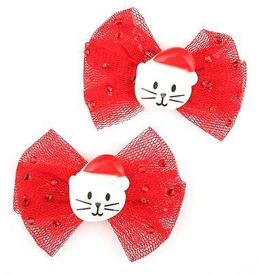 Iniziativa Zest 2 Rosso Natale Capelli Clip Con Rosso Rete Fiocco & Santa Cat-mostra Il Titolo Originale I Clienti Prima Di Tutto