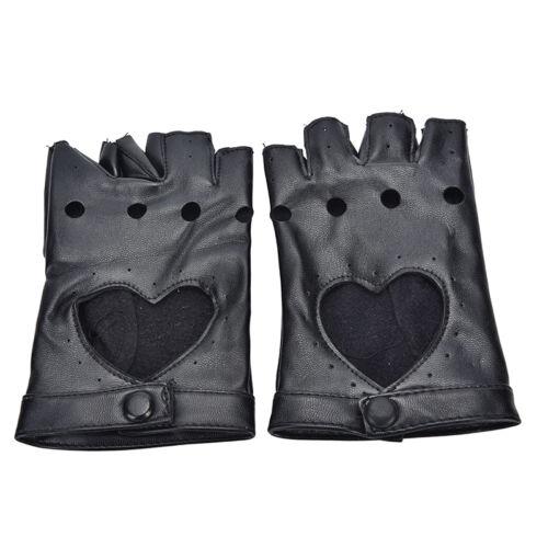 Women Punk Leather Driving Biker Fingerless Mittens Dance Motorcycle Gloves JH