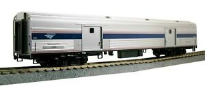 Kato-356203-Amtrak-Bagages-Voiture-phase-IV-1231-Ready-To-Run-Silver-Bleu-Gris-rouge-a-l-039-echelle