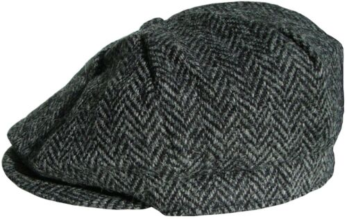 Da Uomo Harris Tweed Bakerboy Cap 8 Panel Cappello da Strillone Cappello Peaky Blinder Gatsby Cap Nuovo