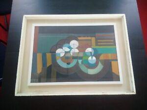 Rare-grande-huile-sur-toile-tableau-abstrait-composition-geometrique-signe