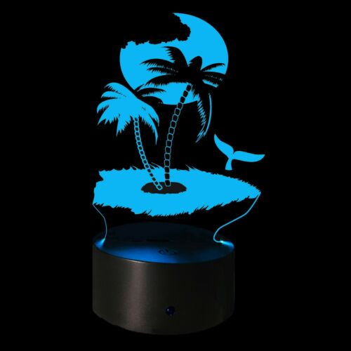 3D Illusion Night Light Tropical Scene Tropic Island USB 7 Color Touch Change