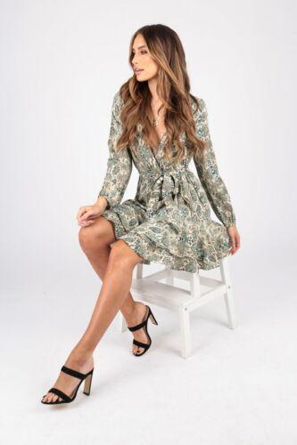 Femme Animal Snake Print Wrap Robe Avec à Volants Ourlet et Auto Tissu Ceinture