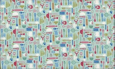 Retro Bake Utensils Turquoise 100% Cotton Fabric by Makower FQ 50cm x 55cm