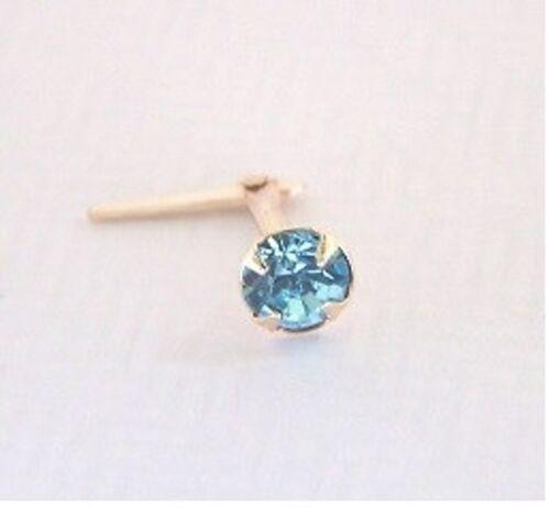 9ct Gold Andralok 3mm Round AQUA Aquamarine Blue Crystal Nose Stud PIN XMAS GIFT