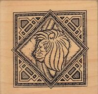 Lion Taylored Mosaic Wood Mounted Rubber Stamp 2 X 2 Free Shipping