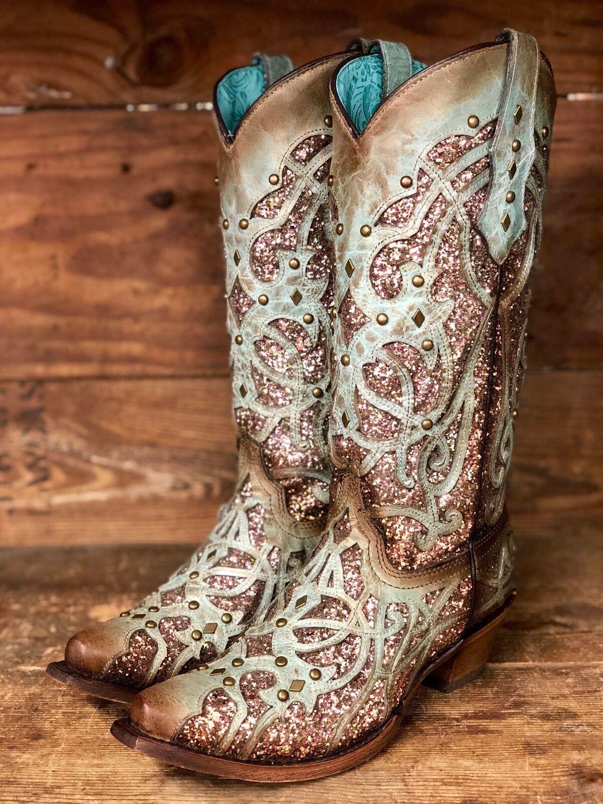 Corral Para Mujer Menta Y Chocolate brillo embutido embutido embutido SNIP Toe Occidental botas C3332  increíbles descuentos