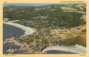 Linen-Postcard-California-H715-Birds-Eye-Air-View-of-Carmel-Ocean-Curteich-Beach
