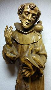 Details About Antique Vintage Rare Anri Bacher Wood Carving Patron Saint St Francis Statue