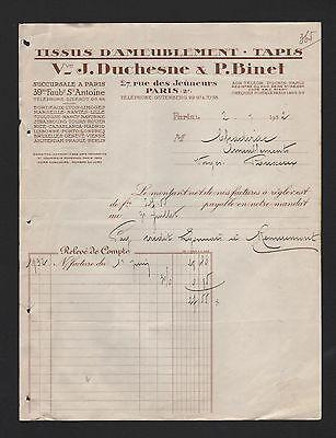 Nachdenklich Paris, Rechnung 1932, Vve J. Duchèsne & P. Binet Tissus D'ameublement Durchblutung GläTten Und Schmerzen Stoppen