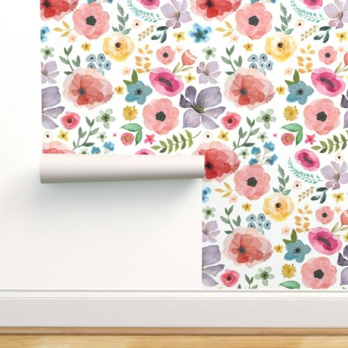 Removable Water-Activated Wallpaper Floral Fiesta Flowers Watercolor Spring