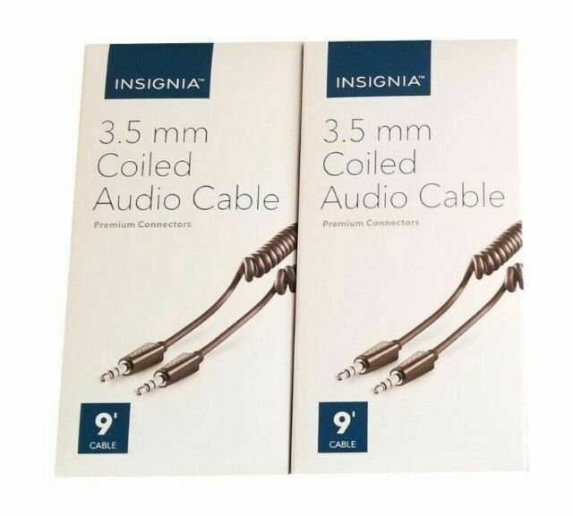 Insignia Male to Male Stereo Aux 9 foot Black Coiled Cable fits 3.5mm audio jack