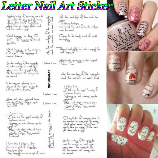 3D Black Slider Letter Nail Stickers Decals Manicure Tips Nail Art Decor g