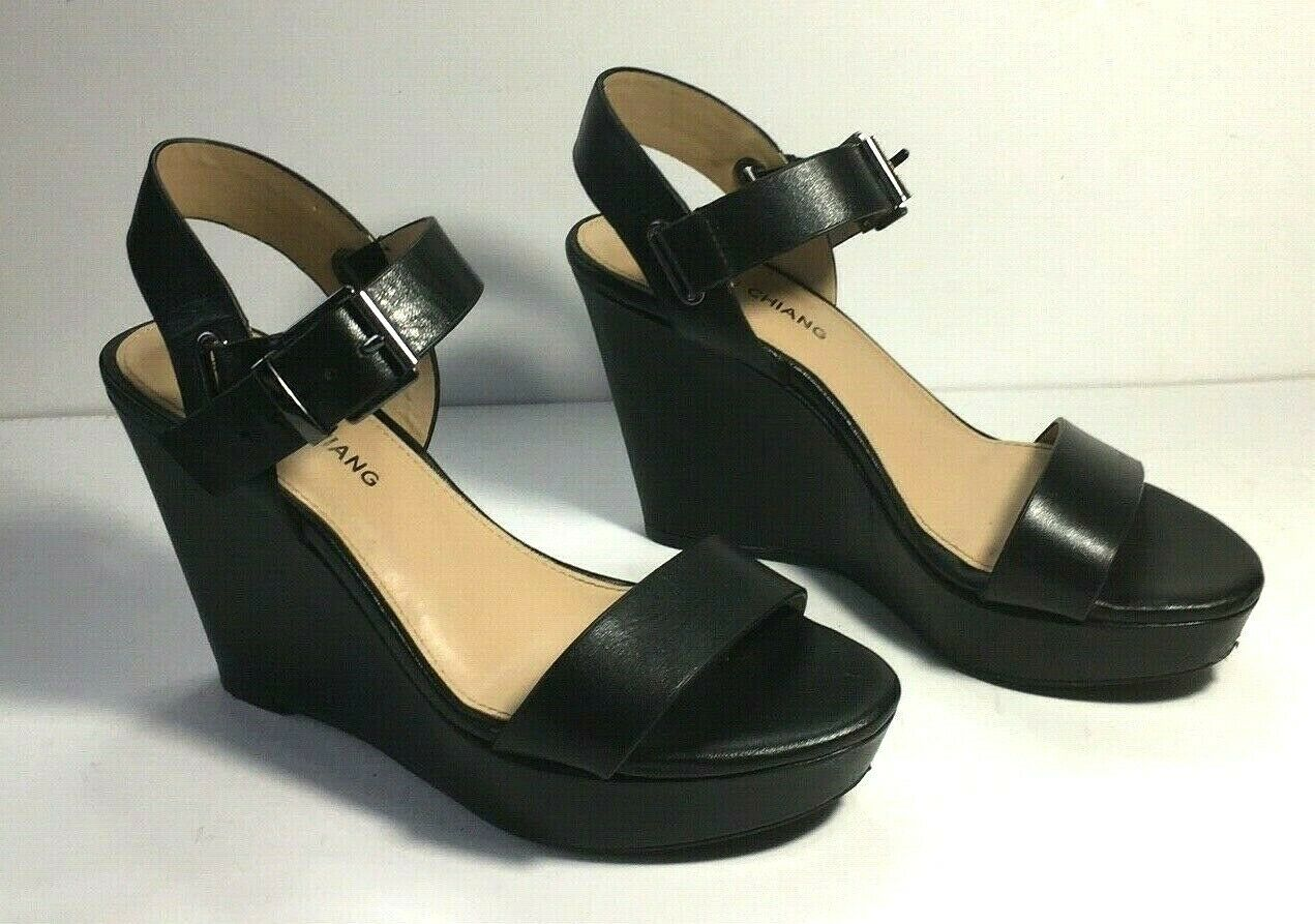 Women's Arturo Chiang Sz 6.5 Black Ankle Strap Open Toe Wedge Dress Shoe Career