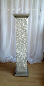 Image Is Loading Diamante Crystal Wedding Aisle Pillars Flower Pedestal Stand