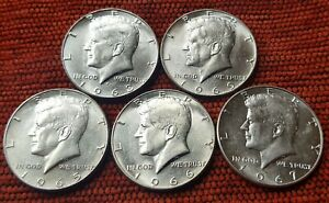 1965-1966-1967-1968-1969-5x-Kennedy-Half-Dollar-EF-Coins-40-Silver-US-Mint-Lot2