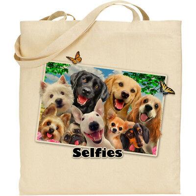 Dogs//Beach H Robinson Fun Selfie Image Reusable Cotton Shopping//Tote//Beach Bag