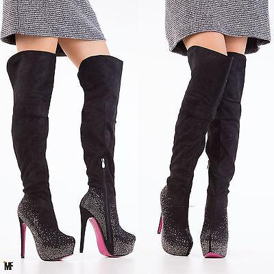 SCARPE DONNA STIVALI alla coscia alto sopra ginocchio tacco spillo strass sq1621 | eBay